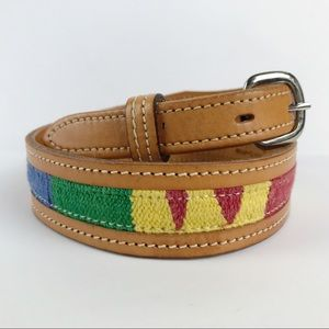 VTG Leather Full Grain Cowhide Made in USA Multicolored Western Canvas Belt 28